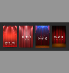 Theater posters red curtains stage flyers vector