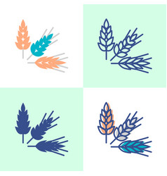 Wheat rye and barley grains icon set in flat and vector