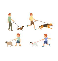 young guy and kids walking with dogs set vector image