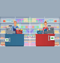 young man and woman cashier at the checkout vector image