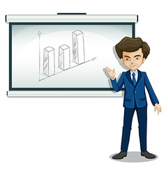 A man standing in front of a bulletin board with a vector image vector image