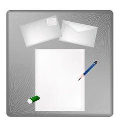 A Pencil and Eraser on A Blank Page and Envelope vector image