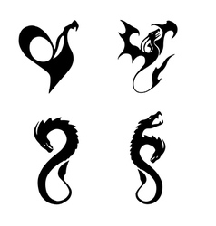 black stylized of dragons vector image
