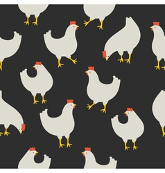 Chicken pattern dark grey vector image vector image
