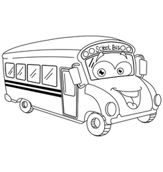 outlined cartoon school bus vector image vector image