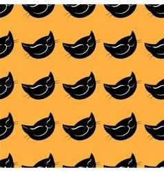 Seamless pattern black cat head vector image vector image