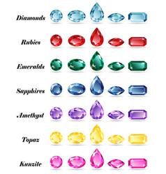 seven sets of gems vector image