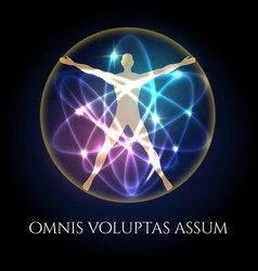vitruvian man in glowing spheres emblem vector image