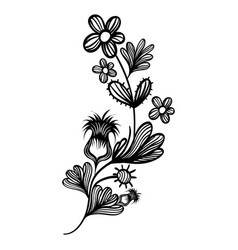 contour natural branches flowers with leaves vector image vector image