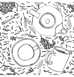 Handdrawn Seamless Tea Pattern 01 A vector image