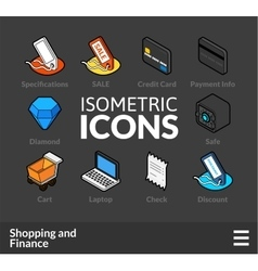 Isometric outline icons set 11 vector image vector image