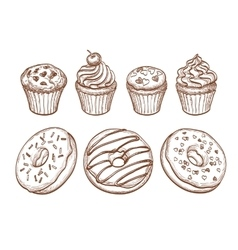 Pastry sweets collection vector image vector image