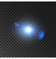 Shining light of star with lens flare effect vector image vector image