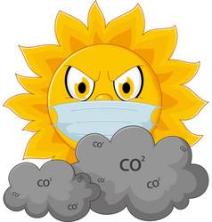 Sun cartoon with medical mask vector