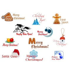 Winter holidays symbols vector image