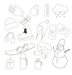 Winter icons set outline style vector image vector image