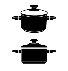 3d kitchen pot black symbol vector image vector image