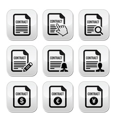 Business or work contract signing buttons vector image
