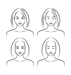 Hand drawn women face vector image