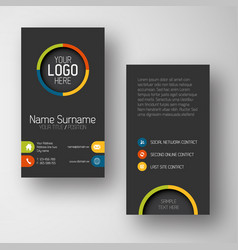 Modern dark vertical business card template with vector