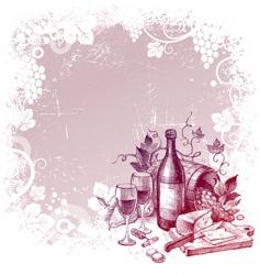 vintage wine still life vector image