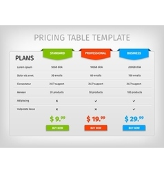 Colorful comparison pricing table template vector image