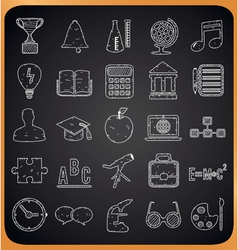 Education hand-drawn icons on blackboard vector image vector image