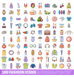 100 fashion icons set cartoon style vector image