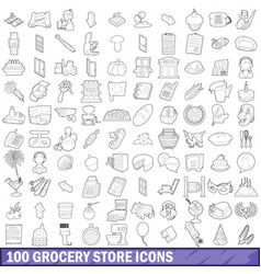 100 grocery store icons set outline style vector