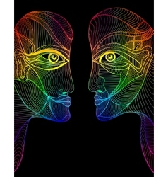 Abstract graphic design rainbow faces vector image