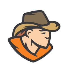 american cowboy head sign vector image