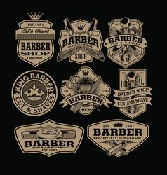 Barber shop hair salon hair stylist vintage logo vector