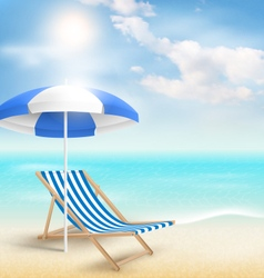 Beach with sun umbrella beach chair and clouds vector