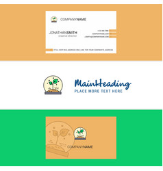 beautiful plant logo and business card vertical vector image