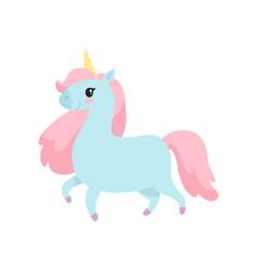 Beautiful unicorn cute magic light blue animal vector