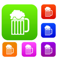 Beer mug set collection vector