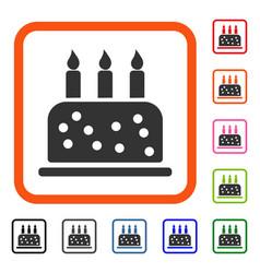 birthday cake framed icon vector image