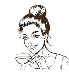 black and white sketch line drawing portrait a vector image