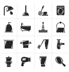 Black Bathroom and hygiene objects icons vector image