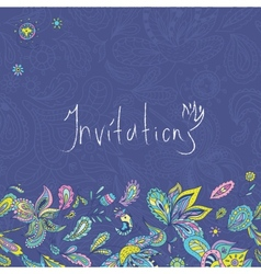 Blue Indian Invitation Template vector image