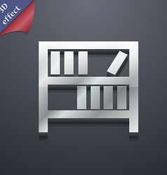 Bookshelf icon symbol 3D style Trendy modern vector