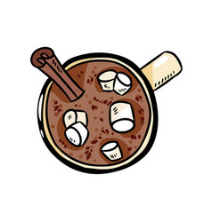 Cacao hot chocolate with marshmallow cute image vector
