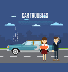 Car troubles banner with people near broken car vector