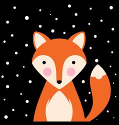 cartoon flat - funny cute fox vector image
