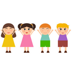 cartoon funny girls and boys vector image