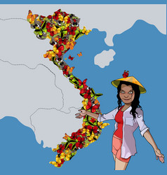 Cartoon woman shows on the map country vietnam vector
