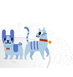 Cat and dog characters french bulldog and cat vector