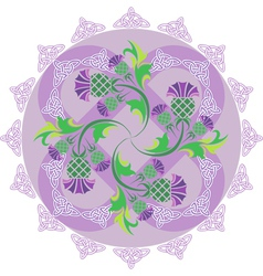 celtic symbols ornament with flowers thistle and vector image