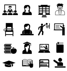 College and university web icon set vector