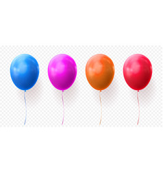 colorful balloons transparent background glossy vector image